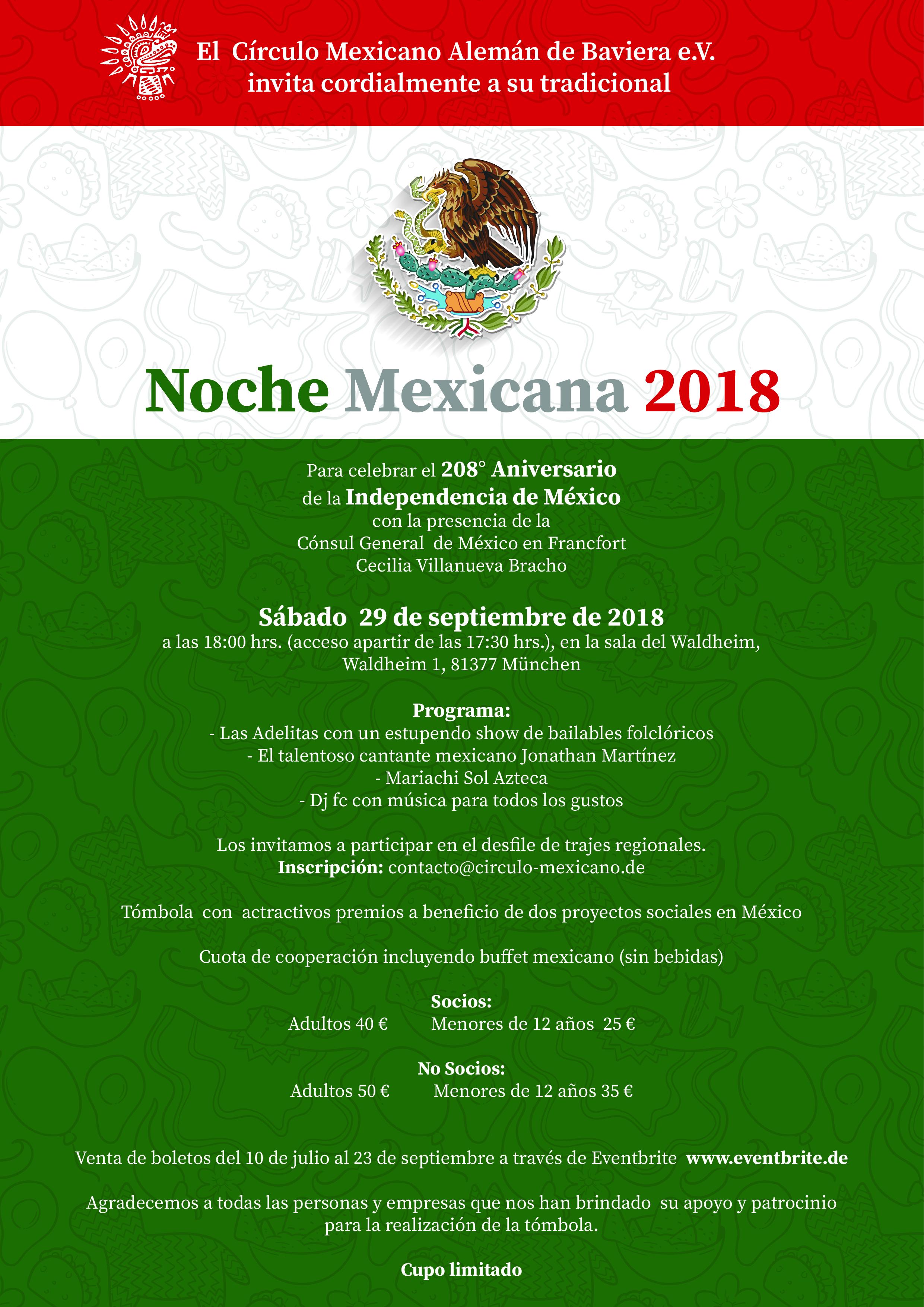 Invitación Noche Mexicana 2018