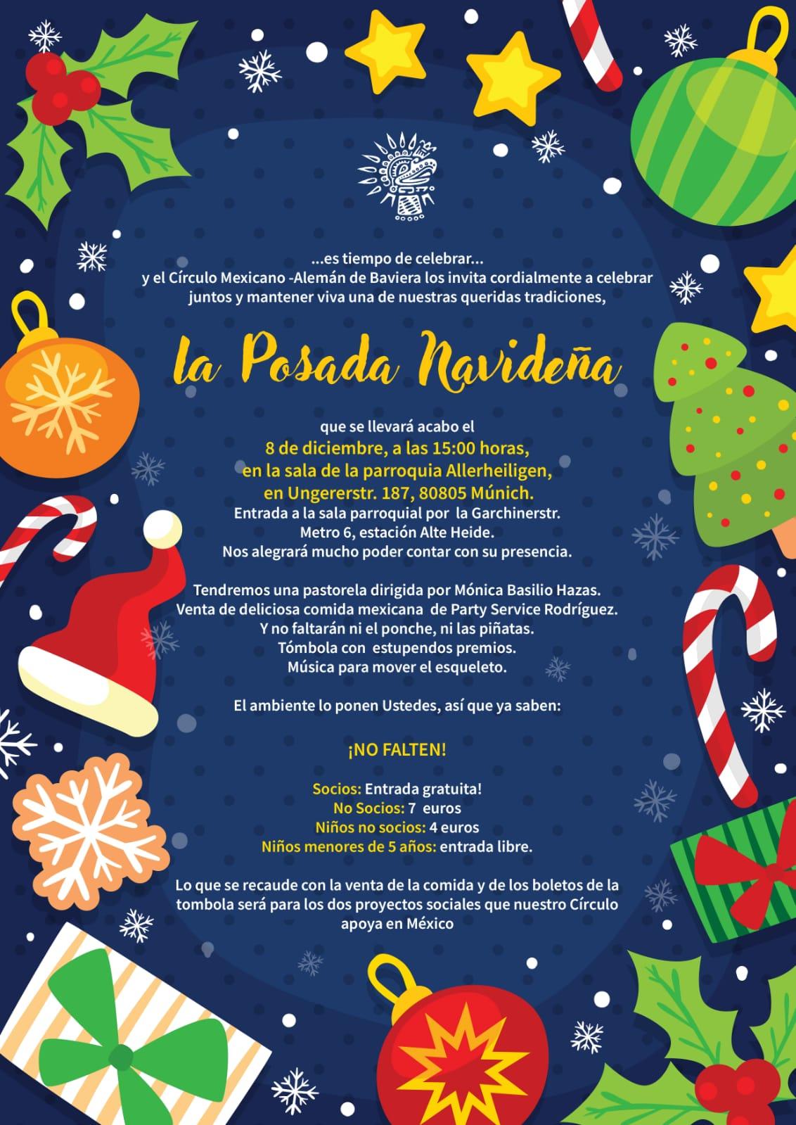 Invitación para la posada el 8 de diciembre 2018